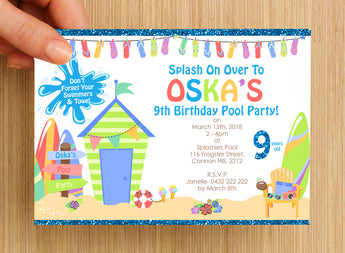 #NEW Swimming Beach Pool Party Invitation #3 -- PERSONALISED --