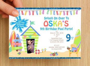 #NEW Swimming Beach Pool Party Invitation #3 -- PERSONALISED -- with photo