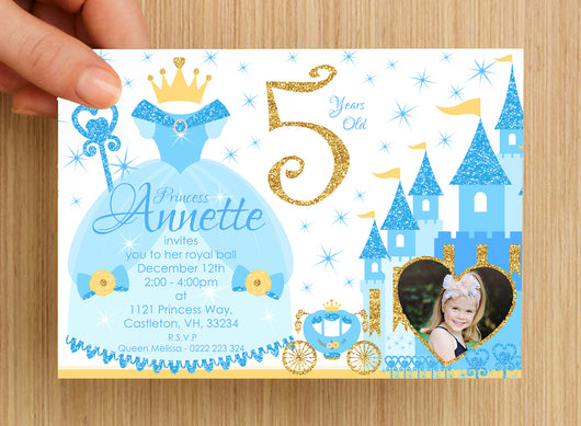 Princess Invitation #2 -- PERSONALISED -- with photo