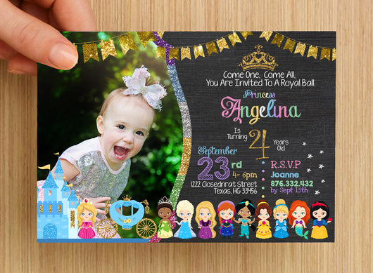 Princess Fairy Tale Stories Invitation #3 -- PERSONALISED -- with photo