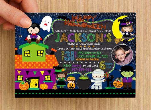 Halloween Birthday Invitation #1 -- PERSONALISED -- with photo