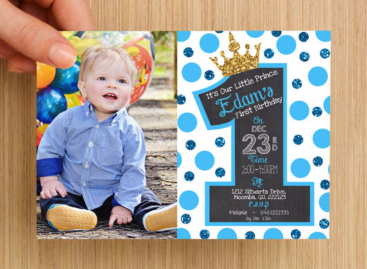 first birthday invitation boys 2 personalised with photo