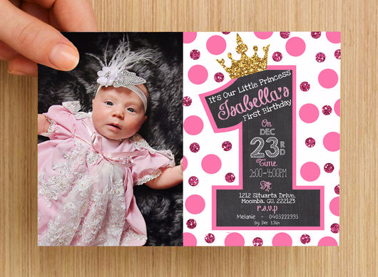 First Birthday Invitation Girls #2 -- PERSONALISED -- with photo