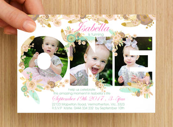 Boho First Birthday Invitation #1 -- PERSONALISED -- with photo