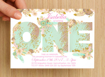 Boho First Birthday Invitation #1 -- PERSONALISED --