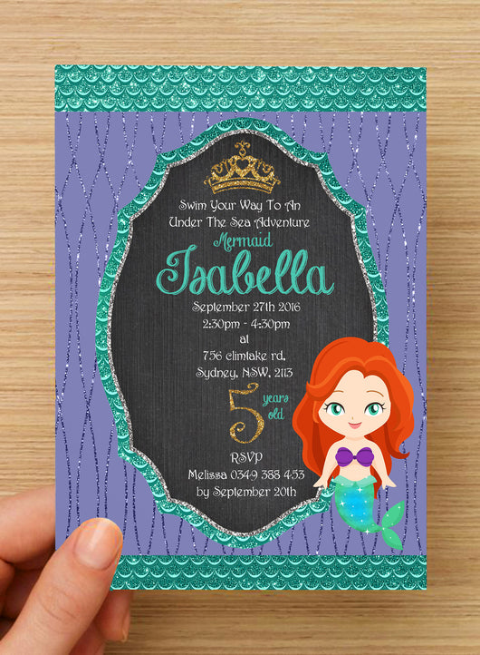 Mermaid Under The Sea Invitation #3 -- PERSONALISED --