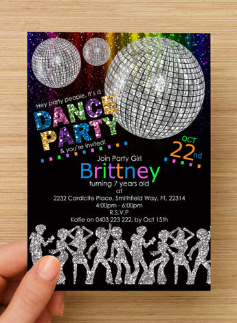 Disco Dance Party GIRLS Invitation #1 -- PERSONALISED --