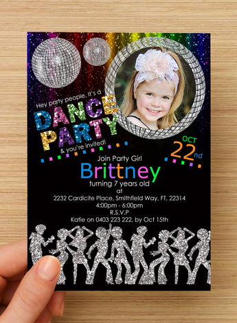 Disco Dance Party GIRLS Invitation #1 -- PERSONALISED -- with photo