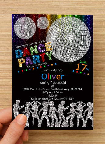 Disco Dance Party BOYS Invitation #1 -- PERSONALISED --