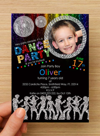 Disco Dance Party BOYS Invitation #1 -- PERSONALISED -- with photo