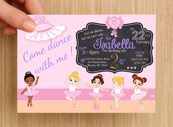 Ballet Dance Party Invitation #1 -- PERSONALISED --