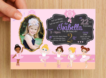 Ballet Dance Party Invitation #1 -- PERSONALISED -- with photo
