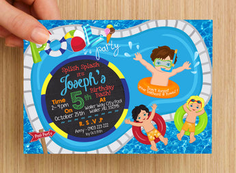 Beach Pool Party Boys Invitation #1 -- PERSONALISED --