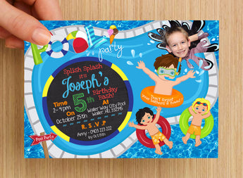Beach Pool Party Boys Invitation #1 -- PERSONALISED -- with photo