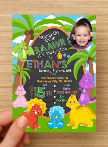 Dinosaur Party Invitation #1 -- PERSONALISED -- with photo