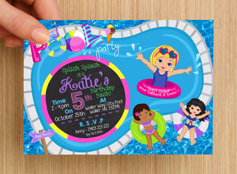 Beach Pool Party Girls Invitation #1 -- PERSONALISED --