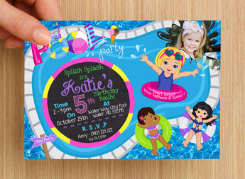Beach Pool Party Girls Invitation #1 -- PERSONALISED -- with photo