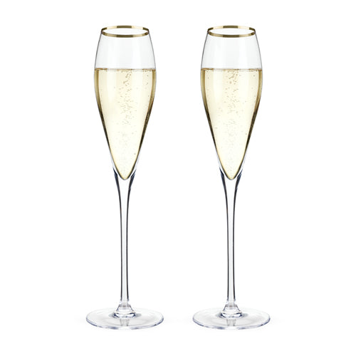 Belmont™ - Gold Rimmed Crystal Champagne Flutes (Set of 6)