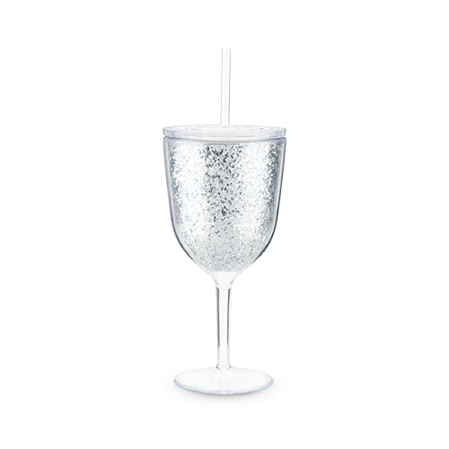 Glitz Silver Double Walled Glitter Wine Glass by Blush
