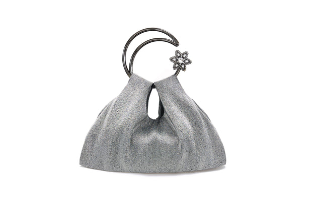 Moon Scooper Metallic Fabric Bag - Silver
