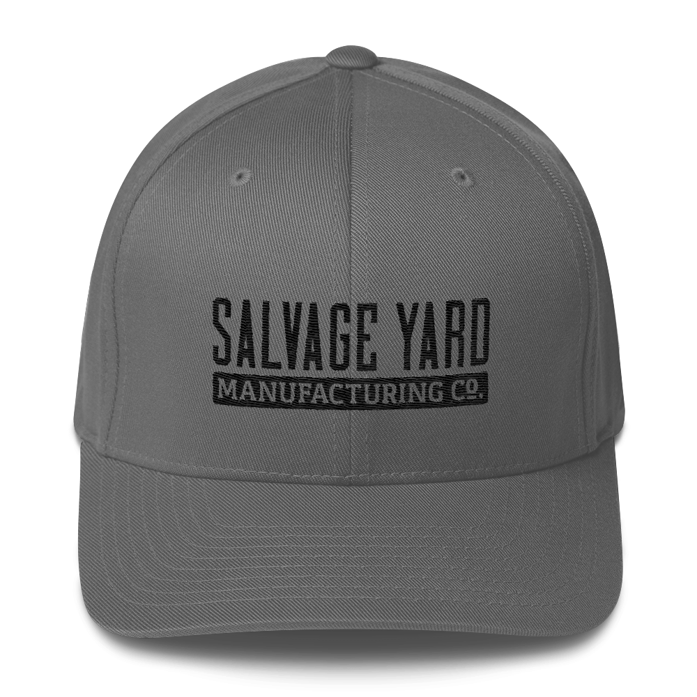 a3dbed2f77617 Chiseled Lettering Flexfit Hat - Grey – Salvage Yard Manufacturing Co.