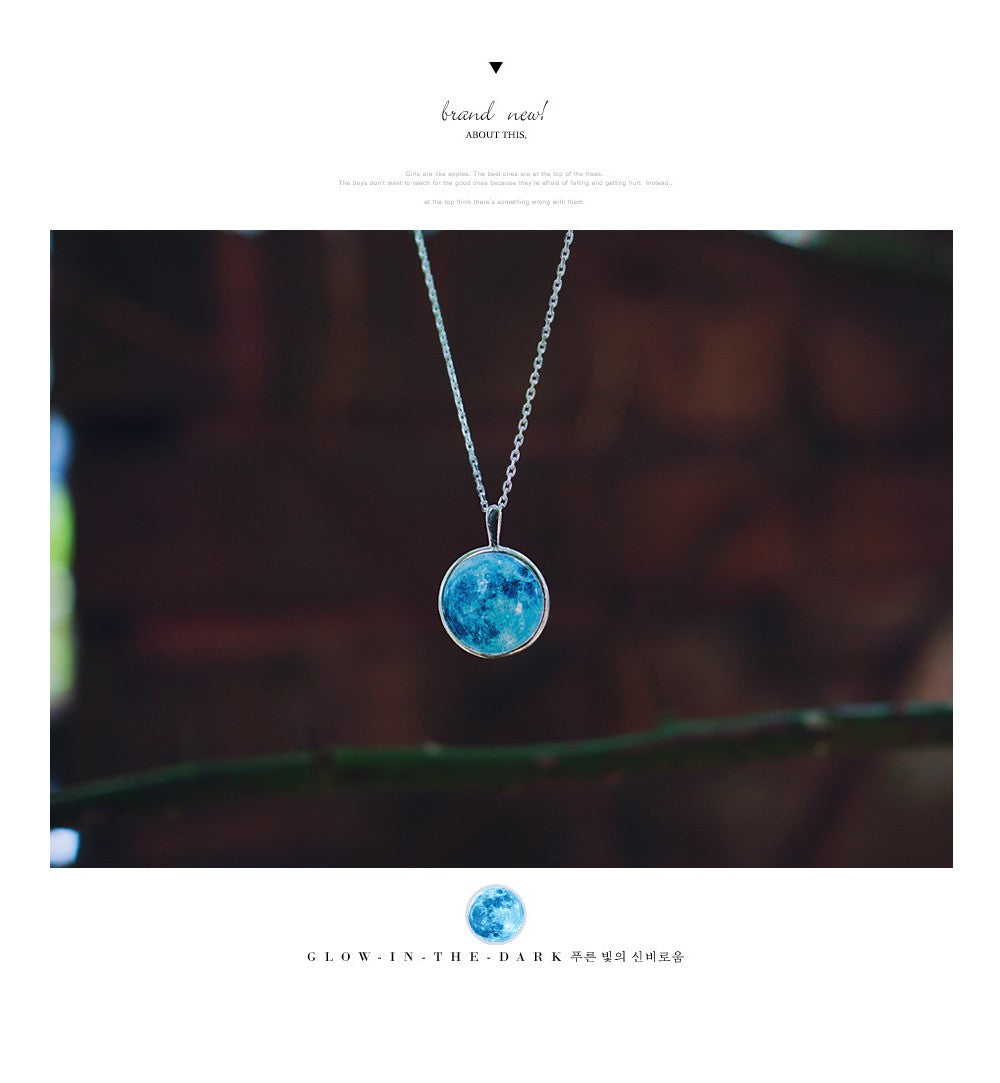 Blue Moon Necklace Glow In The Dark Wingbling Global Kalung Love Disclaimer Actual Size Can Be Slightly Different From Described According To Way Of Measuring Color And Details Such As Pattern