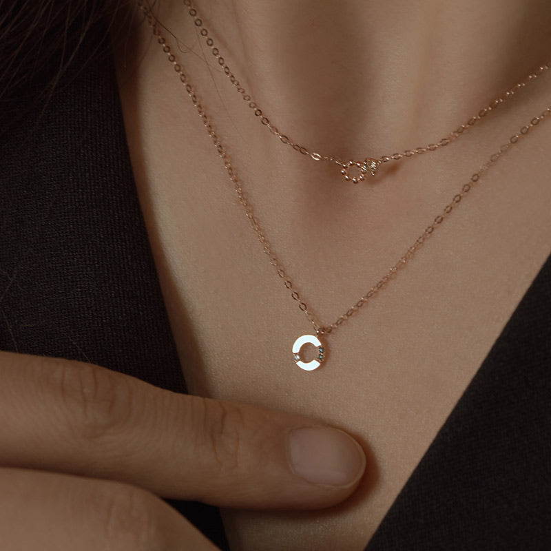 [14K Gold] Rian Natural Diamond Necklace
