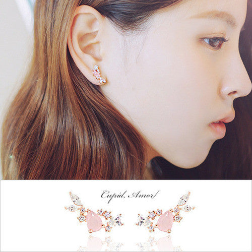 WHISPER OF LOVE 3 CUPID Earring (rose quartz, silver pin) - Wingbling Global