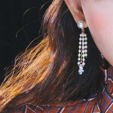 ROMANCE Earring (silver post, pearl) - Wingbling Global