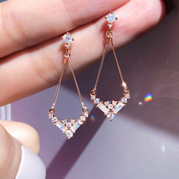 PETITE DRESS Earring (silver post, chandelier crystal) - Wingbling Global