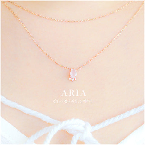 ARIA Necklace (rose quartz) - Wingbling Global