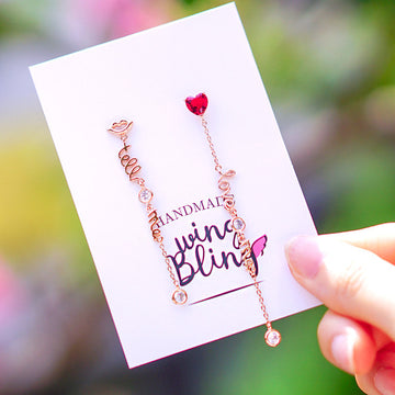 LOVE ME TELL ME Earring (clip-on available, silver pin) - Wingbling Global