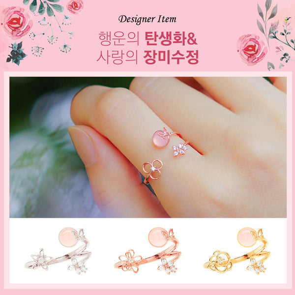 ALLIE Ring (12 birthflower, rose quartz) - Wingbling Global
