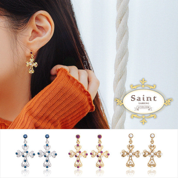 SAINT Earring (cross earring) - Wingbling Global