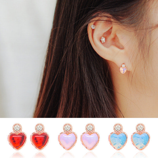 SHINING HEART Earring (silver pin) - Wingbling Global