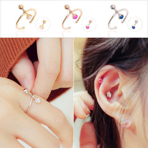 AND Ring (ring + piercing, 12 birthstone) - Wingbling Global