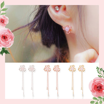 WHITE IRIS Earring (rose quartz) - Wingbling Global