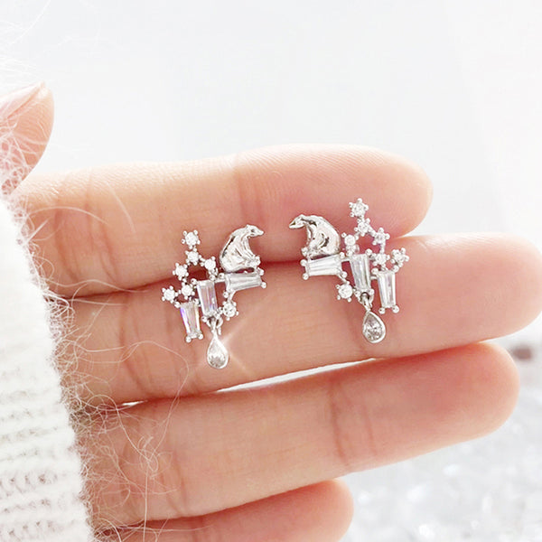TEAR OF GLACIER 1-POLAR BEAR Earring (silver pin, clip-on available) - Wingbling Global
