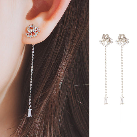 TEAR OF GLACIER 2-PENGUIN Earring (silver pin, clip-on available) - Wingbling Global