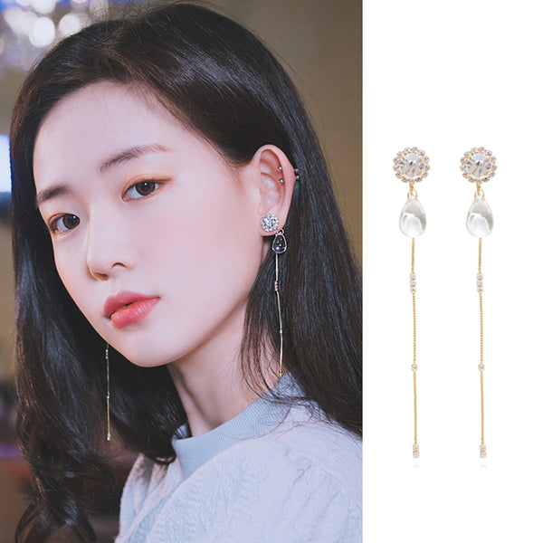 DAYBREAK DEW Earring (silver pin, swarovski, clip-on available) - Wingbling Global