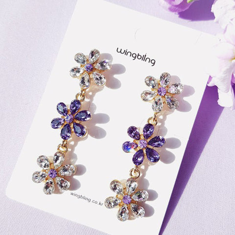 SO LIKE FLOWER Earring (silver pin, Swarovski) - Wingbling Global