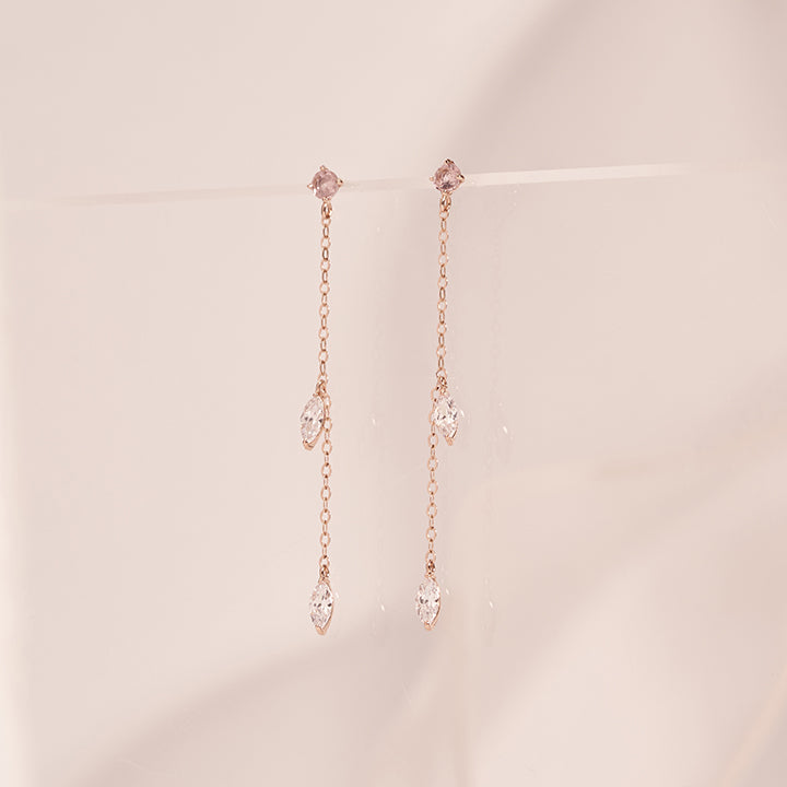 [20% OFF SALE][14K Gold] Tear Morganite Earring