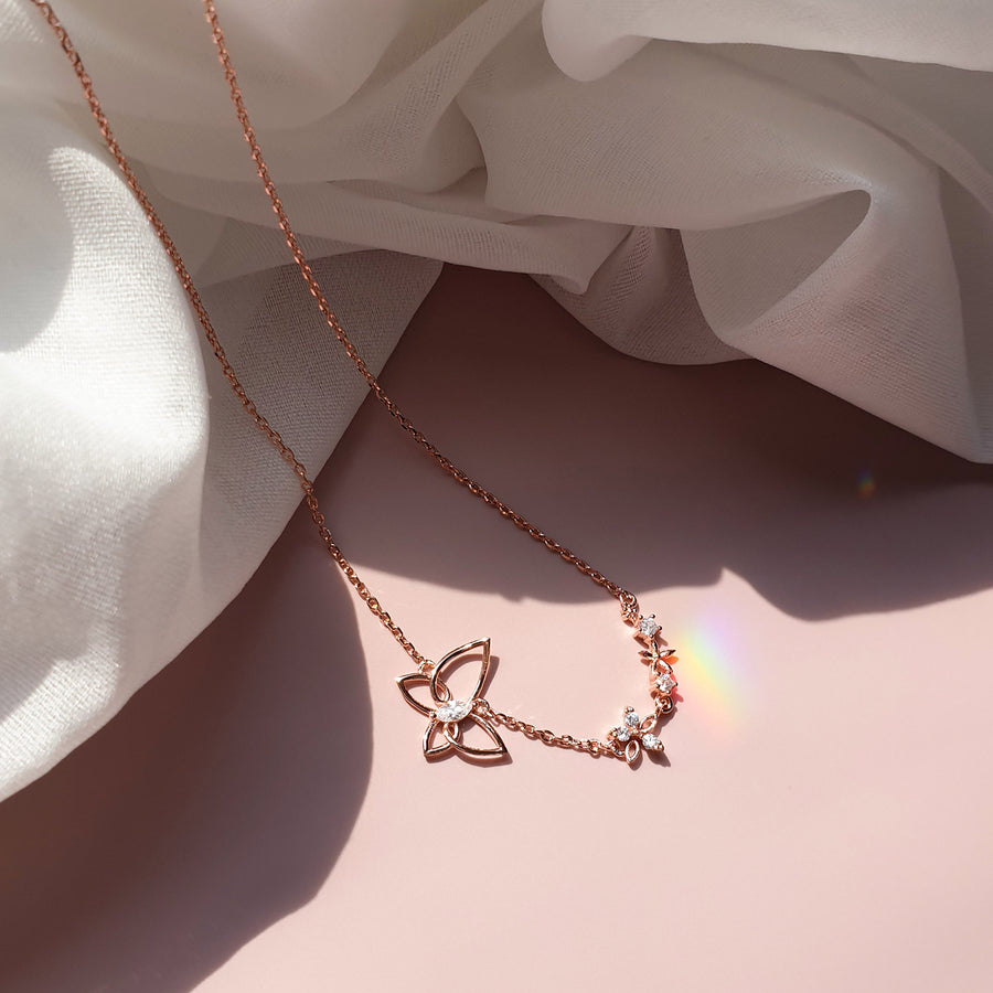 Butterfly on Petal Necklace