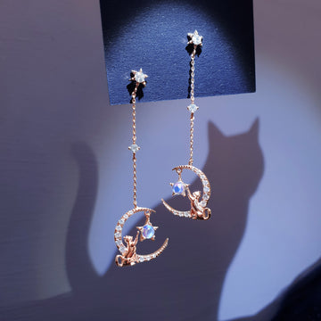 MOONLIGHT CAT Earring (natrual rainbow moonstone)