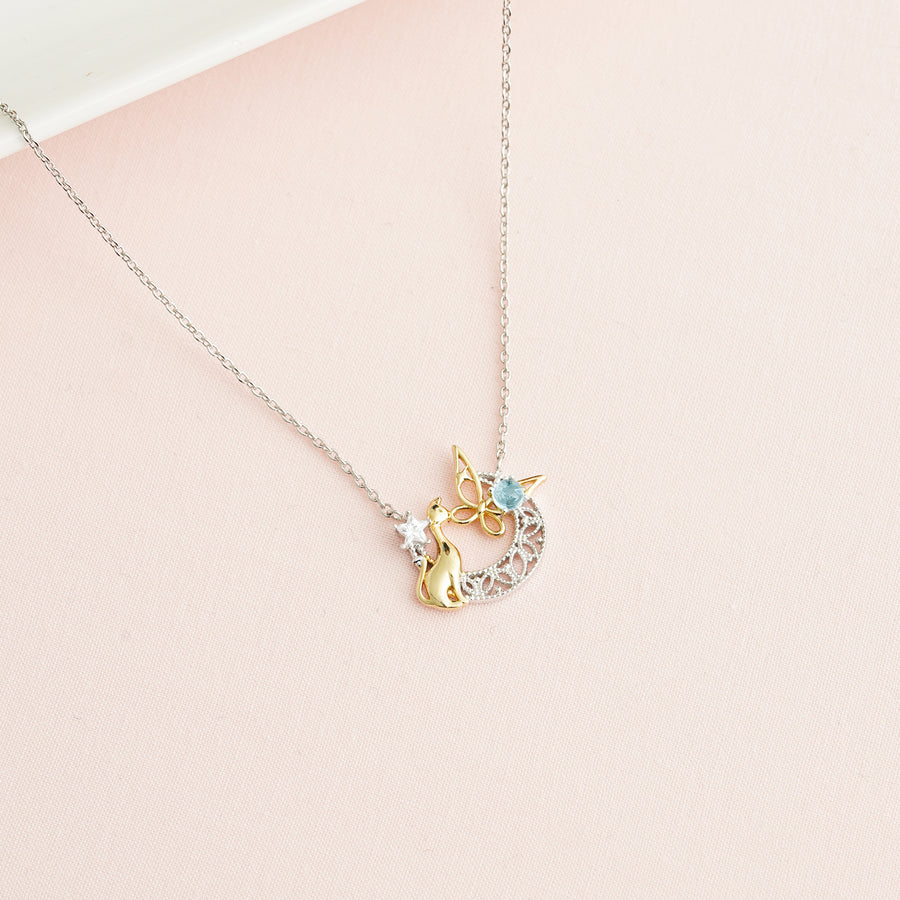 Cat hug butterfly Necklace