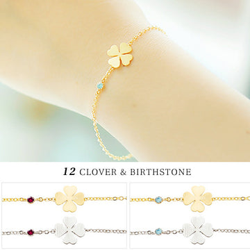CLOVER & 12 BIRTHSTONE Bracelet - Wingbling Global
