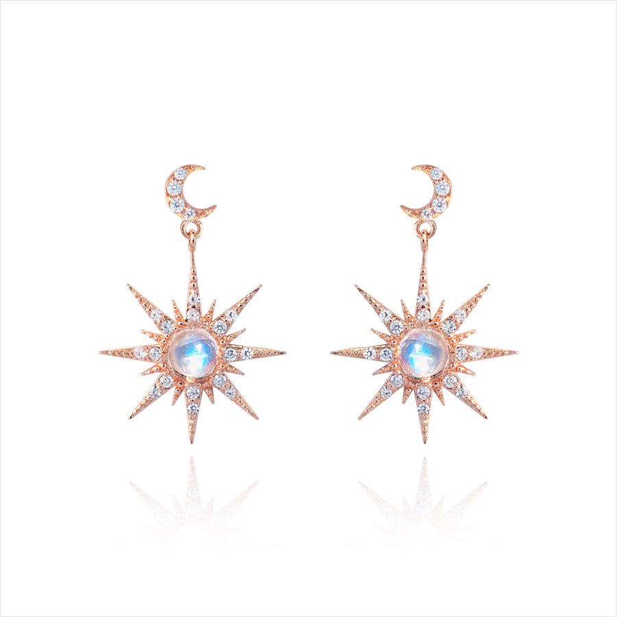 SUNSHINING Earring (natrual rainbow moonstone)