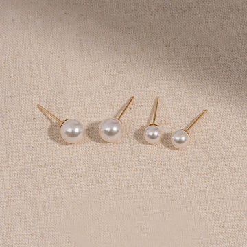[14K GOLD] PEARL SIMPLE STUD EARRING