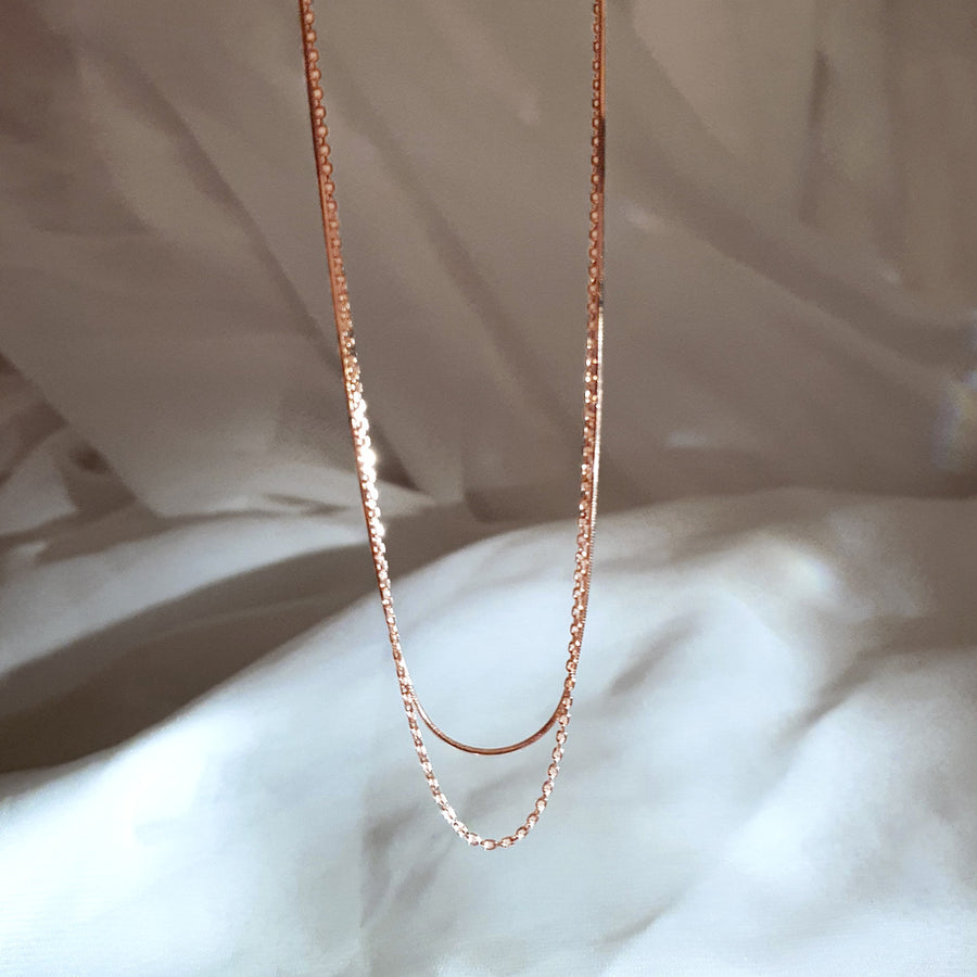 [925 Silver]Dual Chain Necklace