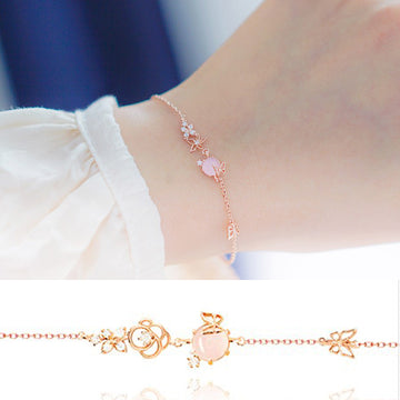 ALLIE Bracelet (12 birthflower, rose quartz) - Wingbling Global